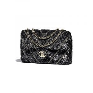 Chanel Black Sequins/Chains/Satin Mini Flap Bag