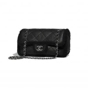 3878e0f072c382 Chanel Black Shearling Lambskin Coco Neige Small Flap Bag