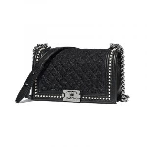 Chanel Black Tweed Boy Chanel Pearls Old Medium Boy Flap Bag