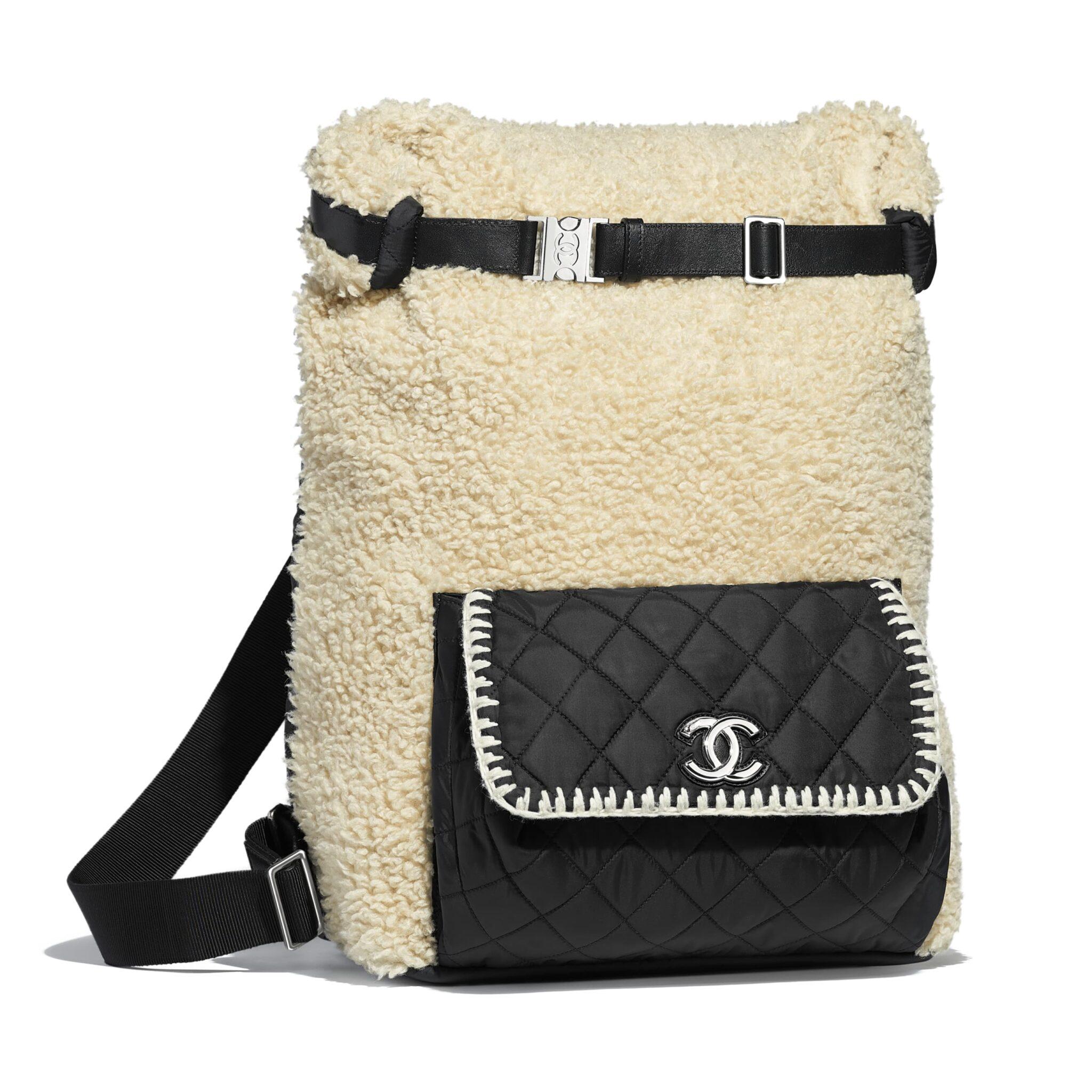 720a1ad4f503 Chanel Black/Ecru Wool/Nylon/Calfskin Coco Neige Large Backpack Bag