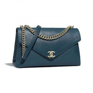 Chanel Blue Coco Chevron Large Flap Bag
