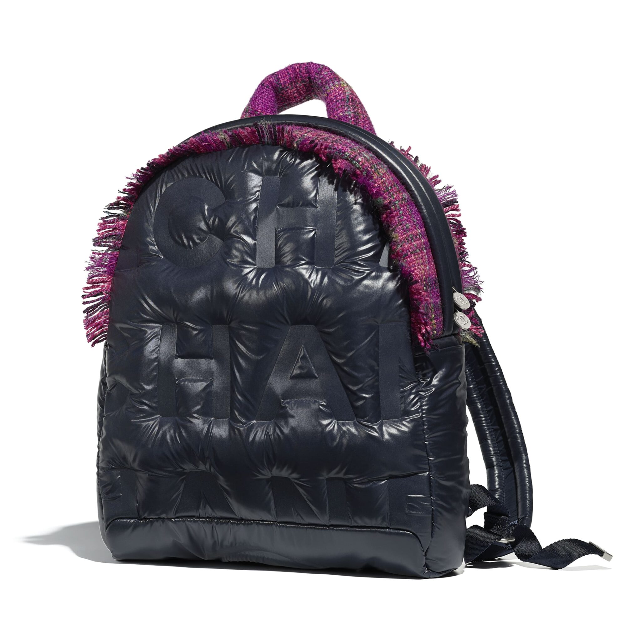d4fe094eef61 Chanel Navy Blue/Fuchsia Nylon/Tweed Coco Neige Backpack Bag