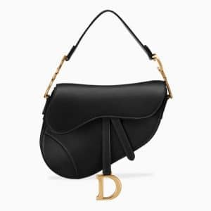 Dior Black Calfskin Medium Saddle Bag