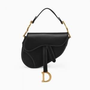 Dior Black Calfskin Mini Saddle Bag