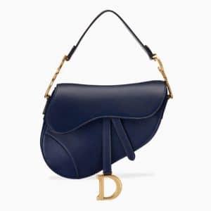 Dior Blue Calfskin Medium Saddle Bag