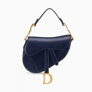 Dior Blue Calfskin Mini Saddle Bag