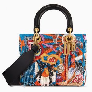 Dior Blue Multicolor Air Element Embroidered Lady Dior Bag