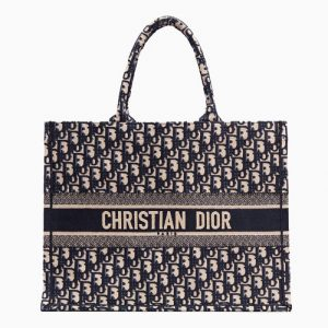 Dior Blue Oblique Canvas Book Tote Bag