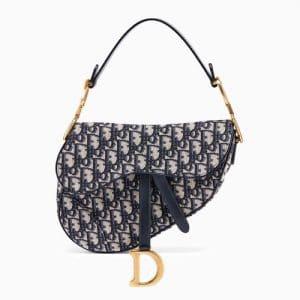 Dior Blue Oblique Canvas Medium Saddle Bag
