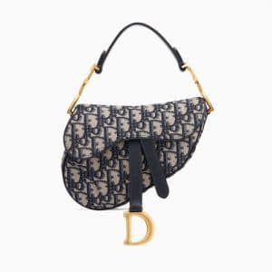 Dior Blue Oblique Canvas Mini Saddle Bag