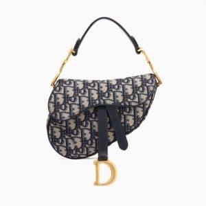 Dior Blue Oblique Canvas Mini Saddle Bag