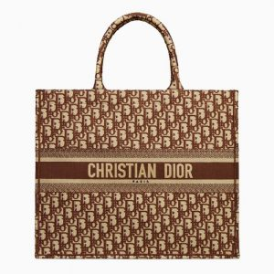 Dior Brown Oblique Canvas Book Tote Bag