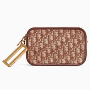 Dior Brown Oblique Canvas Diorquake Clutch Bag