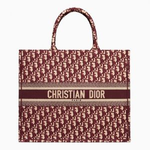 Dior Burgundy Oblique Canvas Book Tote Bag