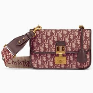 Dior Burgundy Oblique Canvas Dioraddict Flap Bag