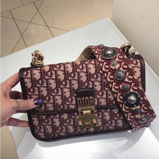 Dior Burgundy Oblique Canvas Dioraddict Flap Bag
