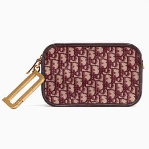 Dior Burgundy Oblique Canvas Diorquake Clutch Bag