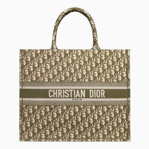 Dior Green Oblique Canvas Book Tote Bag