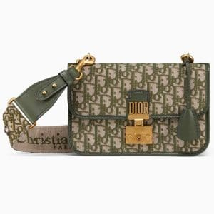 Dior Green Oblique Canvas Dioraddict Flap Bag