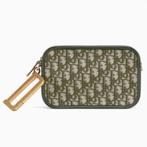 Dior Green Oblique Canvas Diorquake Clutch Bag