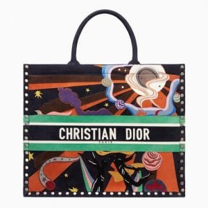 Dior Multicolor Air Element Hand-painted Book Tote Bag