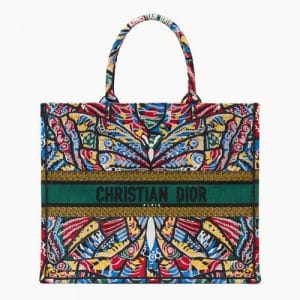 Dior Multicolor Butterfly Embroidered Book Tote Bag