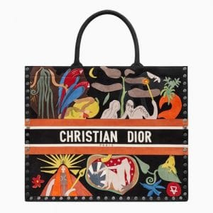 Dior Multicolor Earth Element Hand-painted Book Tote Bag