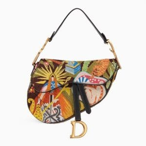 Dior Multicolor Earth Embroidered Saddle Bag