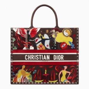 Dior Multicolor Fire Element Hand-painted Book Tote Bag
