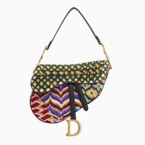 Dior Multicolor Fringe and Beads Embroidered Medium Saddle Bag