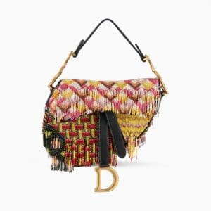 Dior Multicolor Fringe and Beads Embroidered Mini Saddle Bag