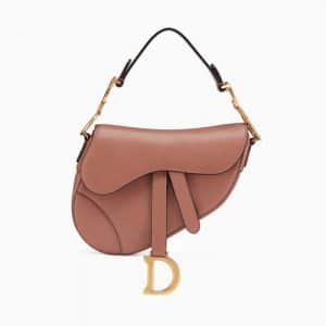 Dior Pink Calfskin Mini Saddle Bag