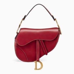 Dior Red Calfskin Medium Saddle Bag