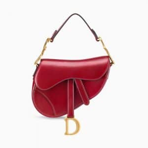 Dior Red Calfskin Mini Saddle Bag