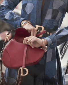 Dior Red Calfskin Saddle Bag