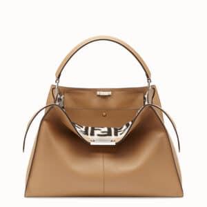 Fendi Beige Calfskin/Sheepskin Peekaboo X-Lite Bag