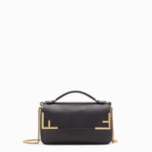 Fendi Black Leather/FF Pattern Double F Bag 1