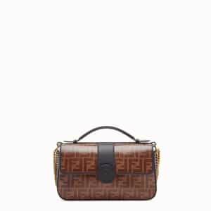 Fendi Black Leather/FF Pattern Double F Bag 2
