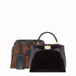 Fendi Black Patent Small Peekaboo Defender Bag 2