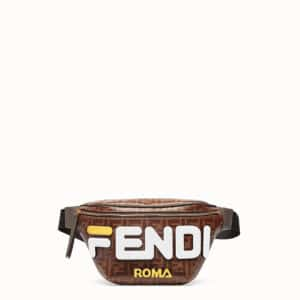 Fendi Brown Fendi Mania Appliqué FF Belt Bag