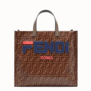Fendi Brown Fendi Mania Appliqué FF Shopper Bag