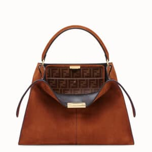 Fendi Brown Suede Peekaboo X-Lite Bag
