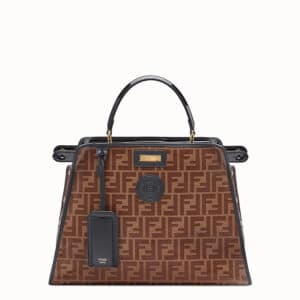 Fendi Brown/Black Patent Medium Peekaboo Defender Bag 1