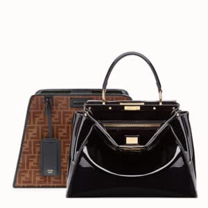 Fendi Brown/Black Patent Medium Peekaboo Defender Bag 2