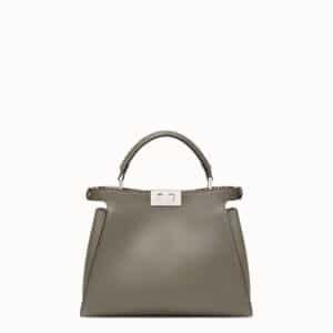 Fendi Gray Leather/Python Medium Peekaboo Essential Bag