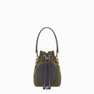 Fendi Green Suede Stamp Patch Mini Mon Tresor Bag