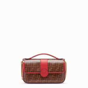 Fendi Red Leather/FF Pattern Double F Bag 2