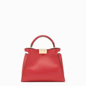 Fendi Red Medium Peekaboo Essential Bag