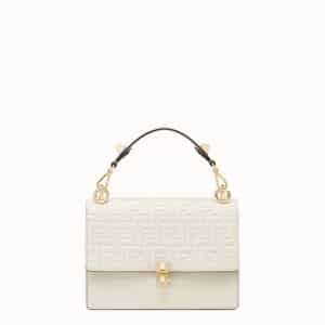Fendi White FF Pattern Kan I Bag
