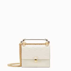 Fendi White FF Pattern Kan I Small Bag
